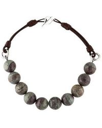 Brunello Cucinelli - Agate & Leather Bead Strand Necklace Silver - Lyst