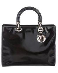 b40f00fc56e0 Lyst - Dior Vintage Medium Lady Bag Black in Metallic