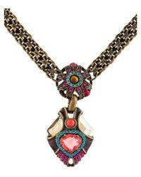 Lanvin - Tiger's Eye Quartz & Crystal Pendant Necklace Brass - Lyst