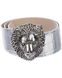 Blumarine - Leather Belt Silver - Lyst