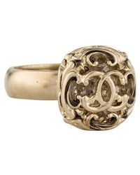 Chanel - Crystal Cc Cocktail Ring Gold - Lyst