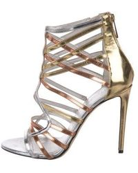 Tamara Mellon - Leather Caged Sandals Gold - Lyst