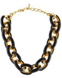 Kenneth Jay Lane - Enamel Link Necklace Gold - Lyst