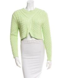 Thakoon - Cable Knit High-low Sweater Lime - Lyst