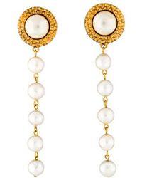 Chanel - Faux Pearl Long Drop Earrings Gold - Lyst