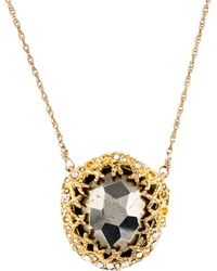 Alexis Bittar - Pyrite & Crystal Pendant Necklace Gold - Lyst