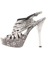 Vera Wang Lavender - Embossed Leather Sandals - Lyst