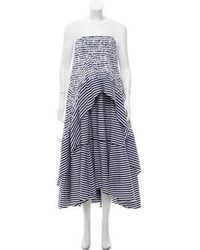 Erdem - Strapless Striped Dress - Lyst
