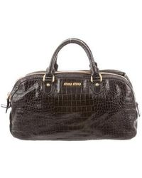 Lyst - Miu Miu Miu Canvas Kiss-lock Bag Black in Metallic f5d108d081fad