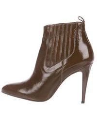 Brian Atwood - Patent Leather Pointed-toe Ankle Boots Olive - Lyst