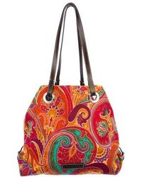 Etro - Leather-trimmed Paisley Tote Orange - Lyst
