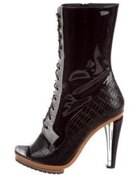 Rodarte - Embossed Lace-up Boots W/ Tags Black - Lyst
