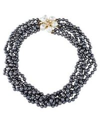 Kenneth Jay Lane - Multistrand Faux Pearl & Crystal Necklace Gold - Lyst