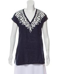 972dc5df13b2 Tory Burch - Linen Embroidered Top Navy - Lyst