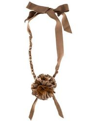 Lanvin - Faux Pearl & Ribbon Flower Collar Necklace Silver - Lyst