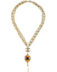 Chanel - Agate, Faux Pearl & Crystal Pendant Necklace Gold - Lyst