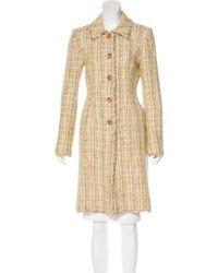 Lela Rose - Frayed Tweed Coat Yellow - Lyst