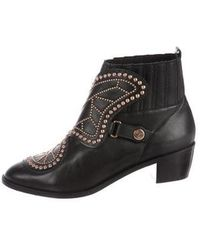 Sophia Webster - Leather Studded Ankle Boots Black - Lyst