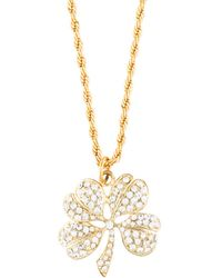 Kenneth Jay Lane - Crystal Clover Pendant Necklace Gold - Lyst