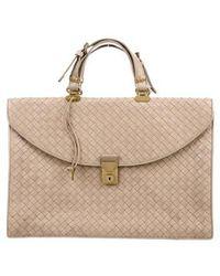 c4230c51588d Lyst - Bottega Veneta Woven Leather Briefcase in Brown for Men