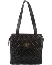 86dd39d00286 Lyst - Chanel Vintage Quilted Lambskin Shopping Tote Black in Metallic