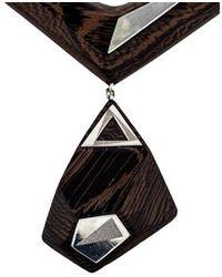 Kara Ross - Ebony Pendant Necklace Silver - Lyst