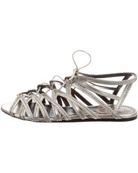 Roberto Cavalli - Cage Lace-up Sandals Pewter - Lyst