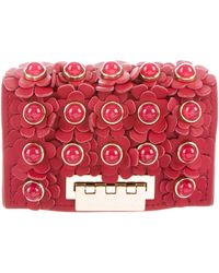 Zac Zac Posen - Floral-embellished Leather Wallet Red - Lyst