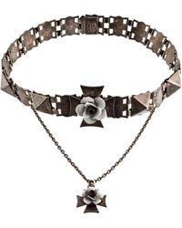 Jean Paul Gaultier - Cross Floral Collar Necklace Silver - Lyst