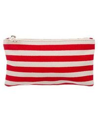 Charlotte Olympia - Striped Canvas Coin Purse Red - Lyst