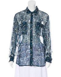 e2fddc04a55dd0 Lyst - Equipment Sleeveless Silk Button-up in Blue