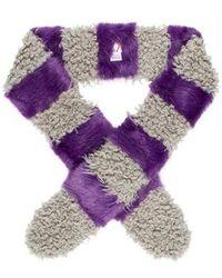 Shrimps - Faux Fur Two-tone Scarf Purple - Lyst