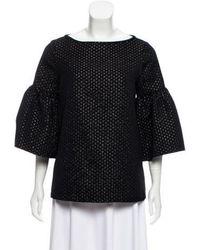 SUNO - Brocade Bell Sleeve Top Black - Lyst