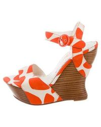 Alice + Olivia - Platform Wedge Sandals Orange - Lyst