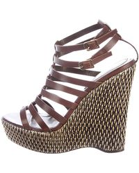 Roberto Cavalli   Leather Cage Wedge Sandals Brown   Lyst