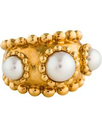 Chanel - 18k Beaded Three Pearl Ring Yellow - Lyst
