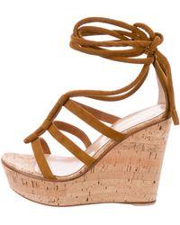 Gianvito Rossi - Cayman Cork Wedge Sandals W/ Tags - Lyst