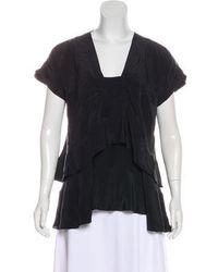 Richard Chai Love - Silk Short Sleeve Draped Blouse - Lyst
