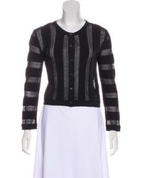 Issa - Lace-accented Button-up Cardigan - Lyst