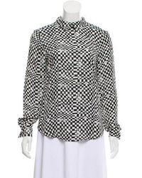 993ccaba235b74 Lyst - T By Alexander Wang Checkered Asymmetrical Long Sleeve Wrap ...