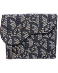 Dior - Diorissimo Saddle Wallet Navy - Lyst