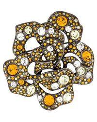 Kenneth Jay Lane - Crystal Cluster Flower Brooch Silver - Lyst