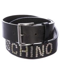 Moschino Jeans - Stud Embellished Leather Belt - Lyst