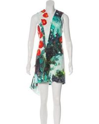 Misha Nonoo - Printed Mini Dress Aqua - Lyst