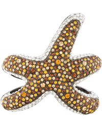 Kenneth Jay Lane - Crystal Starfish Bangle Silver - Lyst