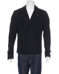 CoSTUME NATIONAL - Leather-trimmed Wool Peacoat - Lyst