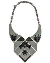 Erickson Beamon - Geometric Crystal Bib Necklace Silver - Lyst