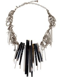Chanel - Agate & Draped Chain Collar Necklace Silver - Lyst