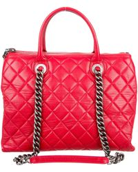Chanel - Quilted Zip Shopping Tote Red - Lyst