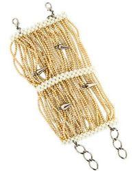 Erickson Beamon - Faux Pearl Spike Multistrand Bracelet Silver - Lyst